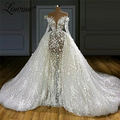 Wedding-Dresses Bride Sexy Plus-Size Bridal-Gowns Lace Vintage Turkish Long No Vestidos-De-Novia