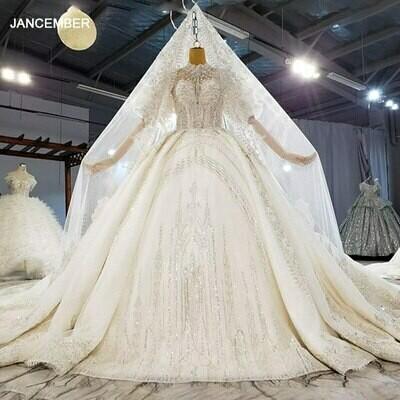 Wedding-Dress Mermaid-Tulled Long-Sleeve Luxury Crystal Cheap Lace-Up Appliques LSDZ09