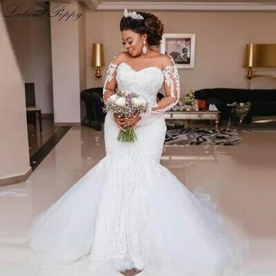 Wedding-Dresses Beading Pearls Long-Sleeves Arabic Muslim Luxury Kaftans Illusion