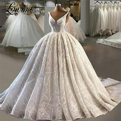 Wedding-Dresses Detachable-Train Bridal-Gowns Beaded Mermaid Long-Sleeves Scoop Neck