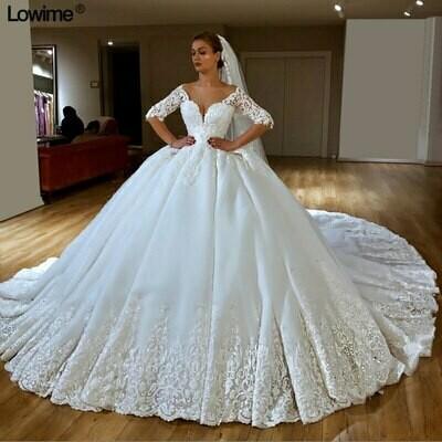 Ball-Gown Wedding-Dresses Flowers Chapel-Train Lace Appliques Long-Sleeve Fmogl Elegant