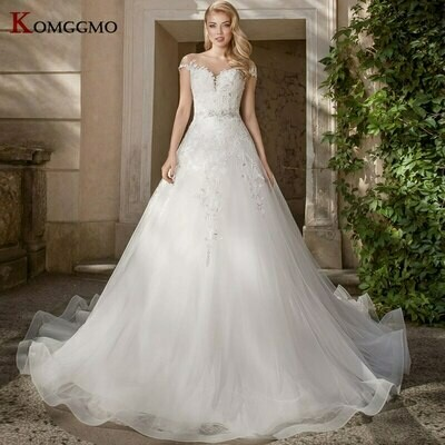 Wedding-Dresses Crystal Puffy Beaded Bridal-Gowns Flower Robe-De-Mariee Lace Full-Sleeves