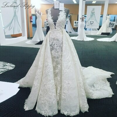 Ball-Gown Wedding-Dress Embroidery Tulle Waulizane Sweetheart Vintage Princess Lace Court-Train