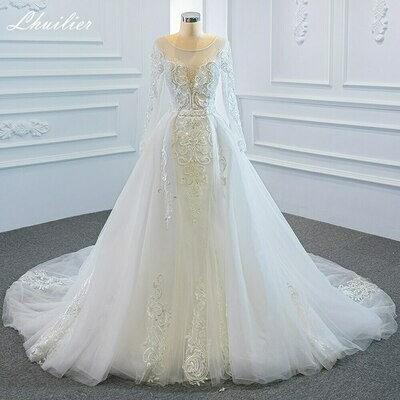 Ball-Gown Wedding-Dress Embroidery Cathedral-Train Tulle Appliques Back-Bridal Full-Sleeve