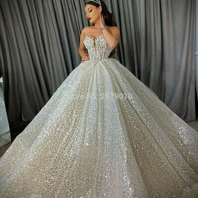 Shiny Sequined Ball Gown Wedding Dresses Long Sleeves Beading High Neck Bridal Gowns Arabic Luxury Robes De Mariée