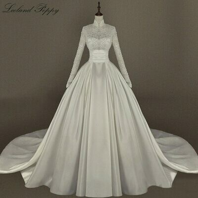Wedding-Dresses Couture Long-Train Mermaid Luxury Bridal-Gowns Beaded-Pearls Muslim Illusion