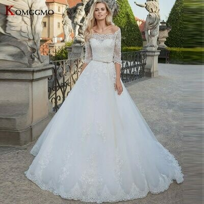 Wedding-Dress Skirt Ball-Gown Chapel Train Full-Sleeve Liyuke with Puffy Pleat Ivory-Color