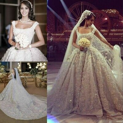 Bride Dresses Beaded Bridal-Gowns Lace Pearls Two-Pieces Dubai Illusion Couture-Middle-East