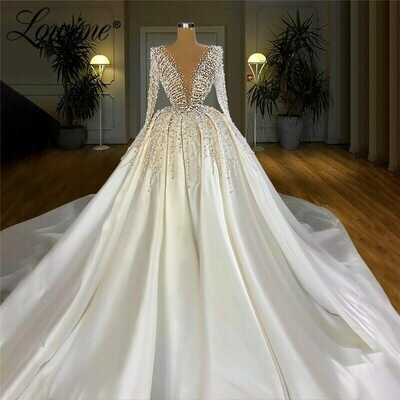Wedding-Dresses Long-Sleeves Beaded Appliques Sweep-Train Lace Luxury Floor-Length Lhuilier