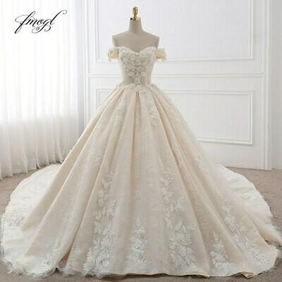Fmogl Royal Train Sweetheart Ball Gown Wedding Dresses 2020 Appliques Flowers Vintage Lace Bride Gowns Vestido De Noiva