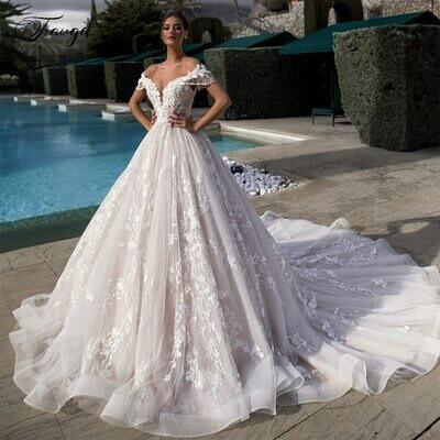 Wedding-Dresses Cathedral-Train A-Line Traugel-Off-The-Shoulder Elegant Plus-Size Bridal-Gown