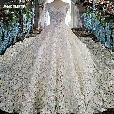 Ball-Gown Wedding-Dress Luxury Sweetheart Applique Sleeveless Brilliant Dubai Floor-Length