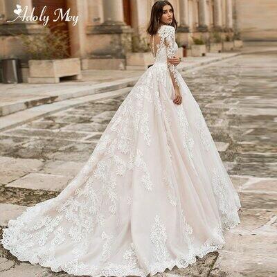 Wedding-Dresses Bridal-Gown Court-Train Tulle Long-Sleeve Gorgeous Adoly Mey Elegant
