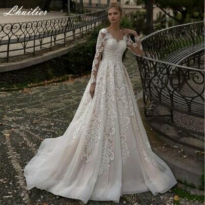 Ball-Gown Bride-Dress Beaded Pearls Arabic Muslim Saudi Gorgeous Dubai No Vestido-De-Noiva