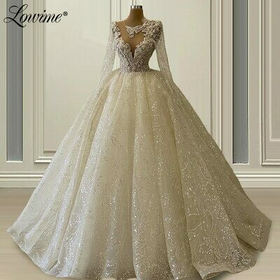 Ball-Gown Wedding-Dress Bride The-Shoulder Plus-Size Appliques Lace Designe-Off New V-Neck