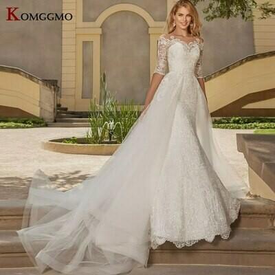 Wedding-Dresses Dubai Customized Arabic Long-Sleeves Muslim Beaded No Vestido-De-Noiva