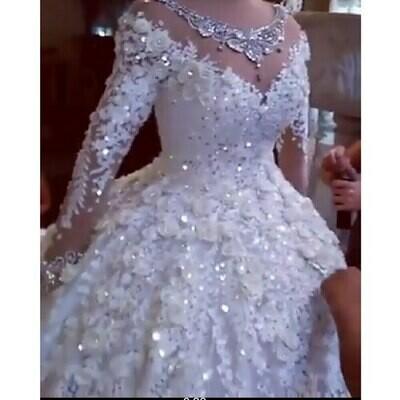 Weddding-Dresses Beading Bridal-Gowns Satin Muslim Luxury Pearls Arabia Saudi Dubai Long