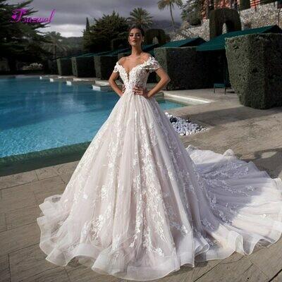 Wedding-Dresses Beaded-Flowers Gorgeous Plus-Size Princess Luxury Appliques Fsuzwel Boat