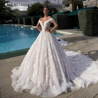 Wedding-Dresses Bridal-Gown Flowers Lace-Up Appliques A-Line Gorgeous Adoly Mey Princess
