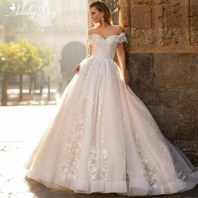 Wedding-Dress Bridal-Gown A-Line Romantic Adoly Mey Princess Luxury Train Appliques Sweetheart-Neck