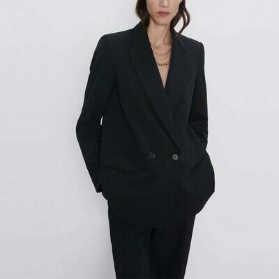 Women's Blazer Jacket Decorative-Coat Autumn Winter Casual Double-Breasted Solid-Color
