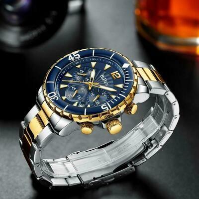 Brand Watch Business-Watches Chronograph Wristwatch-Night-Light-Pointer Gold Male Fashion