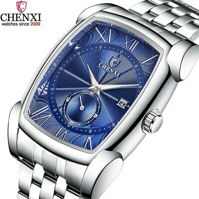 CHENXI Men Rectangle Watches Blue Silver Stainless Steel Businessl Men's Watch Stop Watch