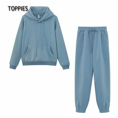 Hoodies Sweatshirt Pants Tracksuits Jogger Two-Piece-Set Fleece Toppies Vintage Autumn Winter