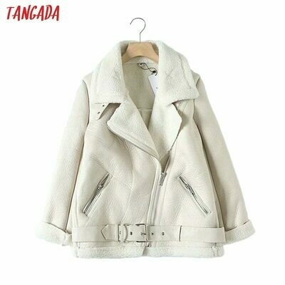 Jacket Coat Belt Fur Turn-Down-Collar Beige Faux-Leather Tangada Women Warm Thick Winter