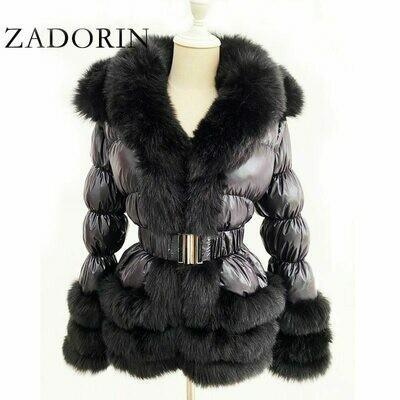 Down-Jacket Detachable Hooded Faux-Fur-Collar White-Duck-Down Furry Warm ZADORIN Women