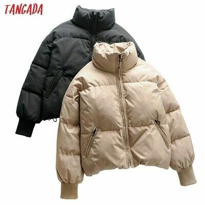 Jacket Parkas Elegant Coat Oversize Zipper-Pockets Tangada Women Female Warm Khaki Thick