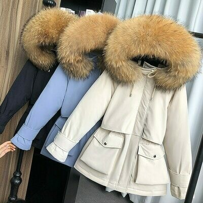 Parkas Jacket Outerwear Down-Coat Hooded Fox-Fur Natural-Raccoon Female Thick Large Winter