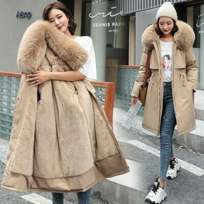Winter Jacket Parka-Coat Liner Hooded Waist-Fur-Collar Long Medium Fashion Women Cotton