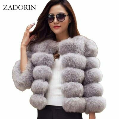 Woman Jacket Outerwear Mink-Coats Faux-Fur-Coat Winter Top Warm Pink Elegant Thick ZADORIN