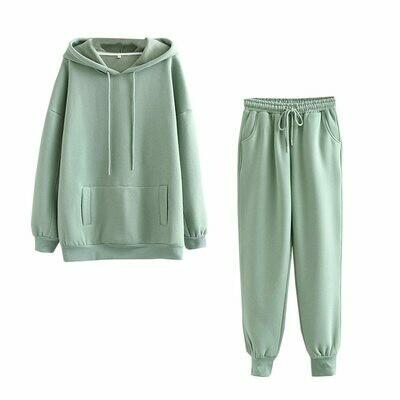 Pants Suits Sweatshirt Hoodies Fleece 2pieces-Sets Thick Autumn Winter 100%Cotton-Suit
