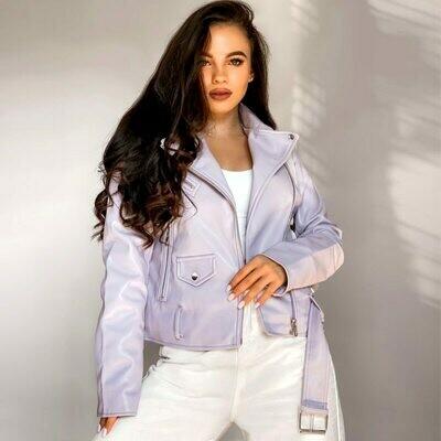 Jacket Ladies Outwear Belt Biker-Coat Spring Faux-Leather Zipper Female Autumn Women