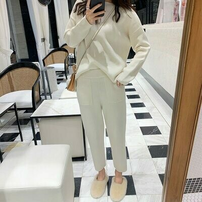 Sweater Tracksuit Pant-Sets Sporting-Suit Spring Knitted Two-Piece Fashion Women Female