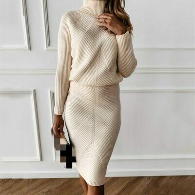 Sweater Suit Costume Skirt MVGIRLRU Two-Piece Women's Slim