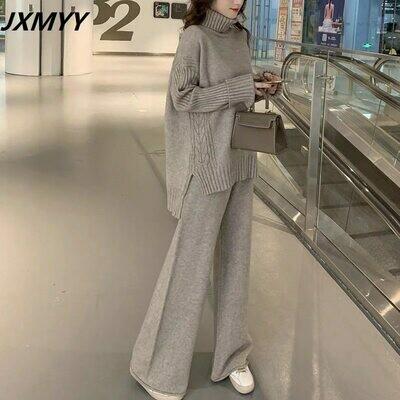 Women Tracksuit Pants Sweater-Set Spring Turtleneck Wide-Legs JXMYY Autumn Pullover Warm