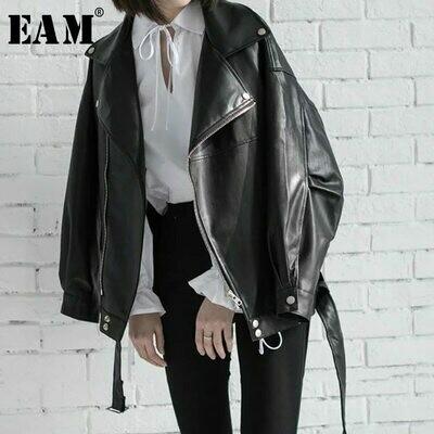 Women's Wild-Jacket Spring Zipper Black Fashion EAM Loose High-Quality Turn-Down-Collar