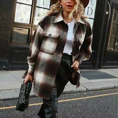 Plaid Coat Oversize Jacket Streetwear Long-Sleeve Female Woolen Girls Thick Elegant Vintage Women
