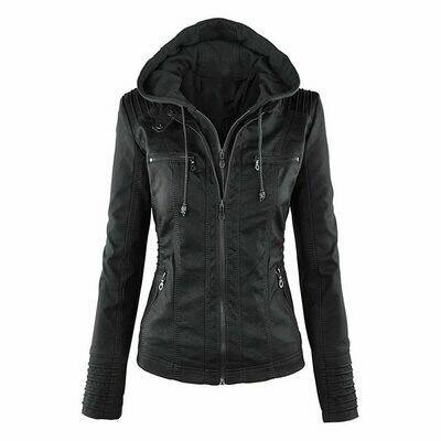 Coats Jackets Streetwear Faux Zipper Motorcycle Black Autumn Winter Women Lady New PU