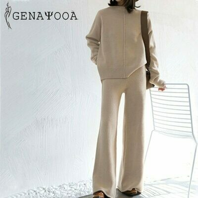 Genayooa Winter Tracksuit 2 Piece Pant Suits For Women Knitted Long Sleeve Two Piece