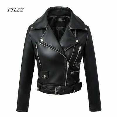 Jackets Belt Motor Basic-Coat Turn-Down-Collar Zipper Faux-Leather Black Autumn Winter