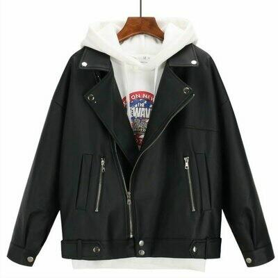 Jacket Faux-Coat Oversized Female Black Korean-Style Autumn Winter Women Outwear Boyfriend