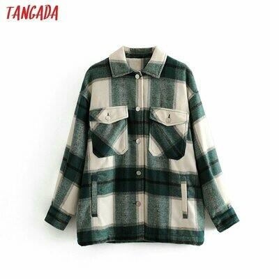 Long Coat Jacket Warm Green Plaid Winter Fashion Women High-Quality Casual 3H04 Tangada