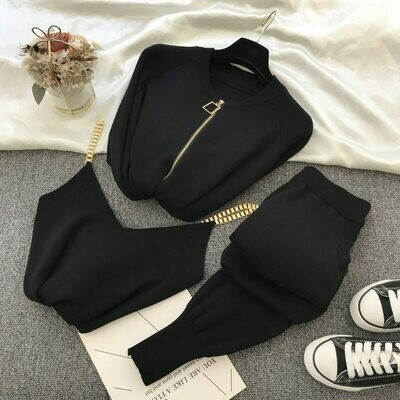 Sweater Suit Vest Chain Three-Piece-Sets Elastic-Pants Knitted-Jacket New-Product Temperament