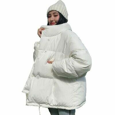Winter Jacket Parka Down-Coat Short Stand-Collar Oversized Loose Female Korean-Style