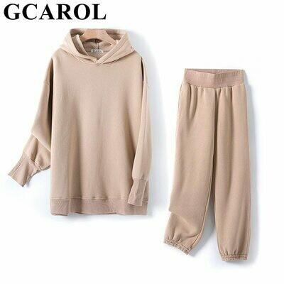 Hooded-Suits Sweatshirt Sets Harem-Pants Oversized GCAROL Fall Boyfriend Fleece Winter Women