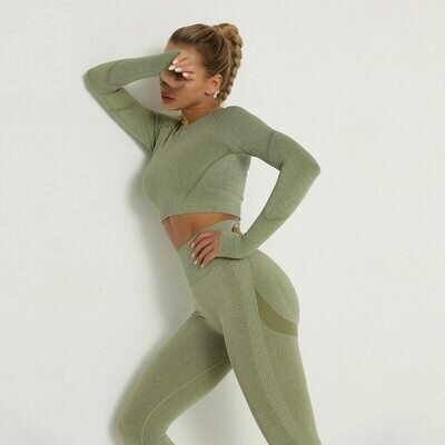 Gym Gym-Set Sport-Suit Belly-Control Long-Sleeve Seamless Booty Sexy Girls High-Waist